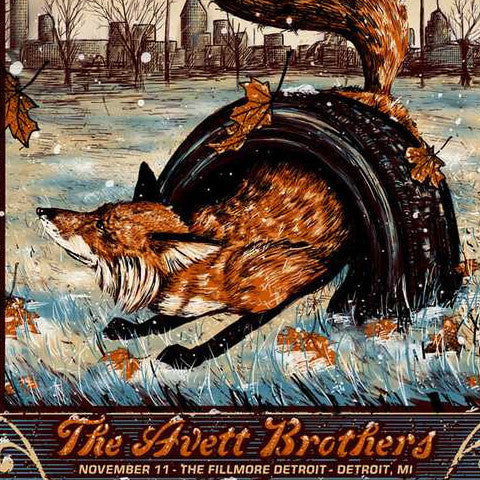 The Avett Brothers - 2016 Zeb Love poster Detroit The Fillmore 11/11