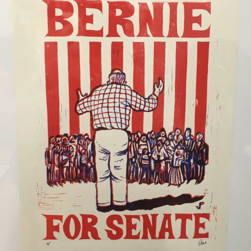 Bernie Sanders for Senate - 2006 Jim Pollock poster linocut Feel the Bern