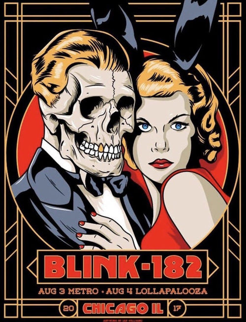 Blink 182 - 2017 Ian Williams poster Chicago, Lollapalooza, Metro