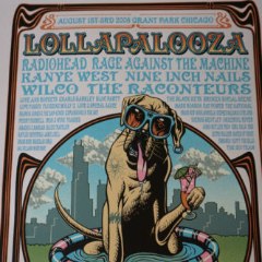 Lollapalooza - 2008 Justin Hampton poster print HAND SIGNED and NUMBERED