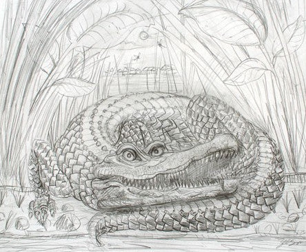 The Enormous Crocodile - 2015 Zeb Love Original sketch drawing