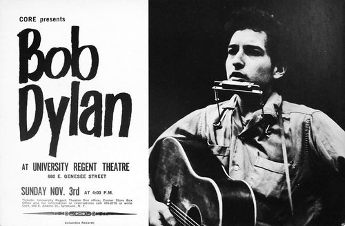 Bob Dylan - 1963 University Regent Theatre poster Syracuse New York CORE 1st