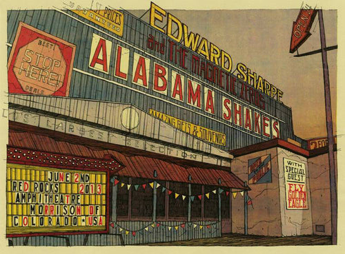 Edward Sharpe & the Magnetic Zeros - 2013 Dan Black Poster Alabama Shakes