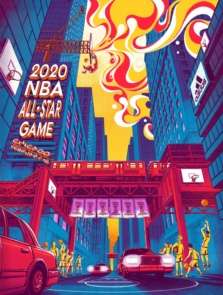 NBA All Star Game - 2020 James Flames poster Chicago Bulls