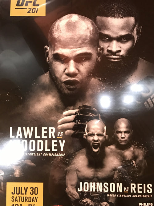 UFC 201 poster Lawler vs. Woodley, Johnson vs. Reis