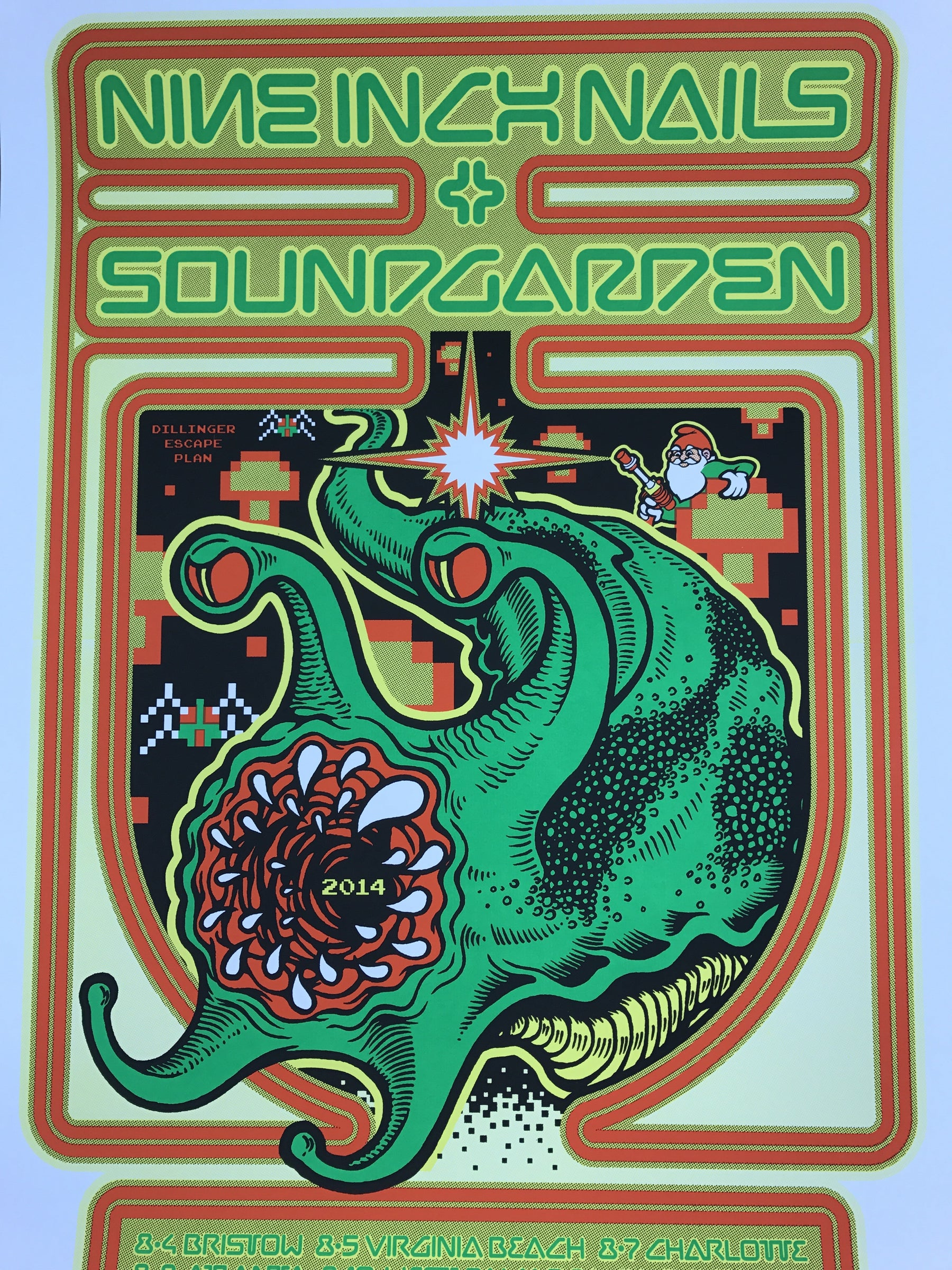 Soundgarden and NIN - 2014 Ames Brothers poster Nine Inch Nails tour