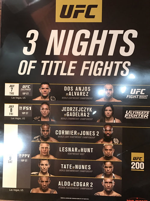 UFC 200 poster Lesnar vs. Hunt, Aldo, Edgar, Cormier, Jones, Tate, Nunes