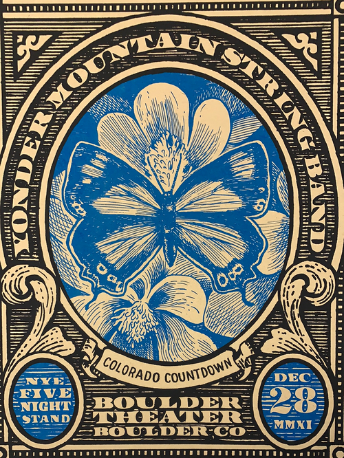 Yonder Mountain String Band - 2011 Johnny Sampson poster Boulder, CO N2