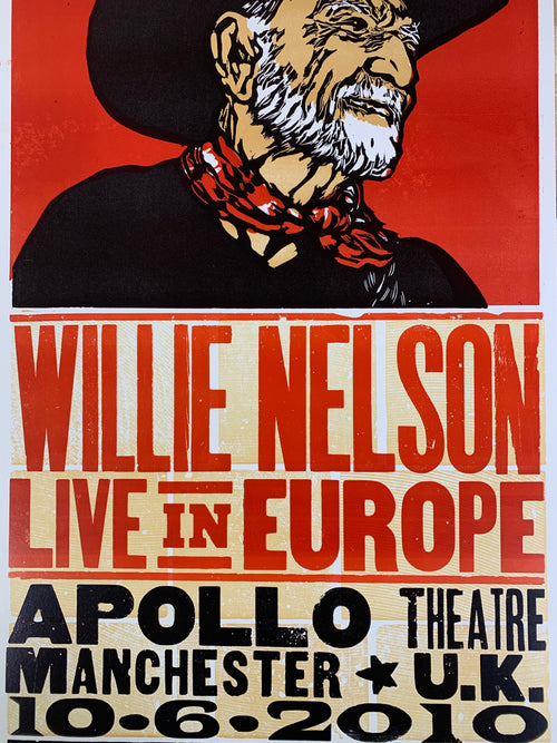 Willie Nelson - 2010 Hatch Show Print poster Manchester UK Apollo Theatre
