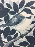 Black Capped Chickadee (Poecile atricapillus) - 2015 Justin Santora Poster Art Print