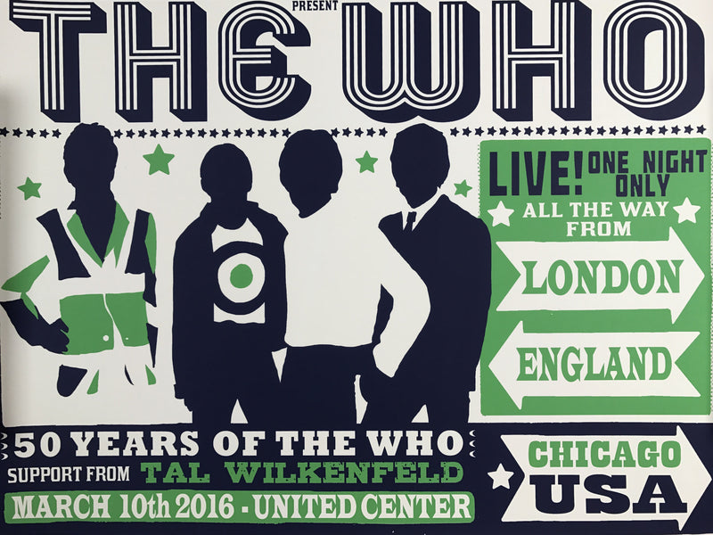 The Who - 2016 Chris Hopwell poster Jacknife Chicago, IL United Center