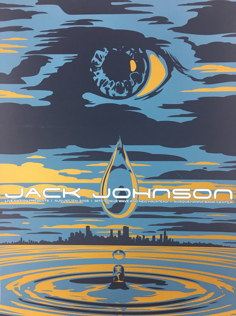 Jack Johnson - 2008 Todd Slater Poster Camden, NJ Susquehanna Bank Center