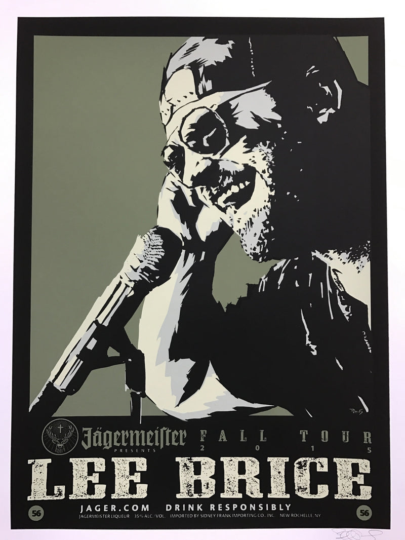 Lee Brice - 2015 Billy Perkins poster Fall Tour Jagermeister