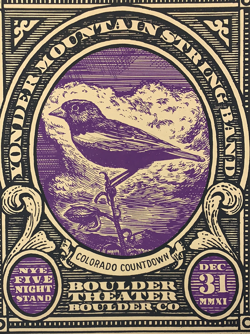 Yonder Mountain String Band - 2011 Johnny Sampson poster Boulder, CO N5