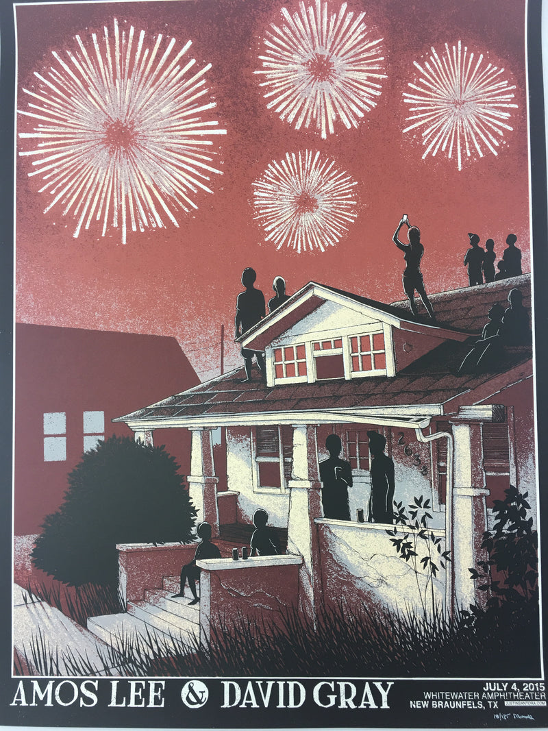 Amos Lee & David Gray - 2015 Justin Santora Poster New Braunfels, TX Whitewater
