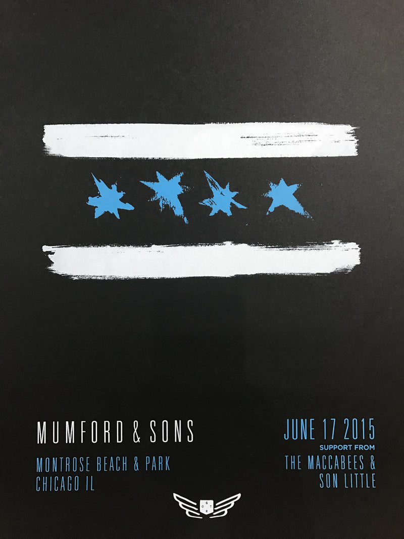 Mumford and & Sons - 2015 poster Chicago, IL Montrose Beach