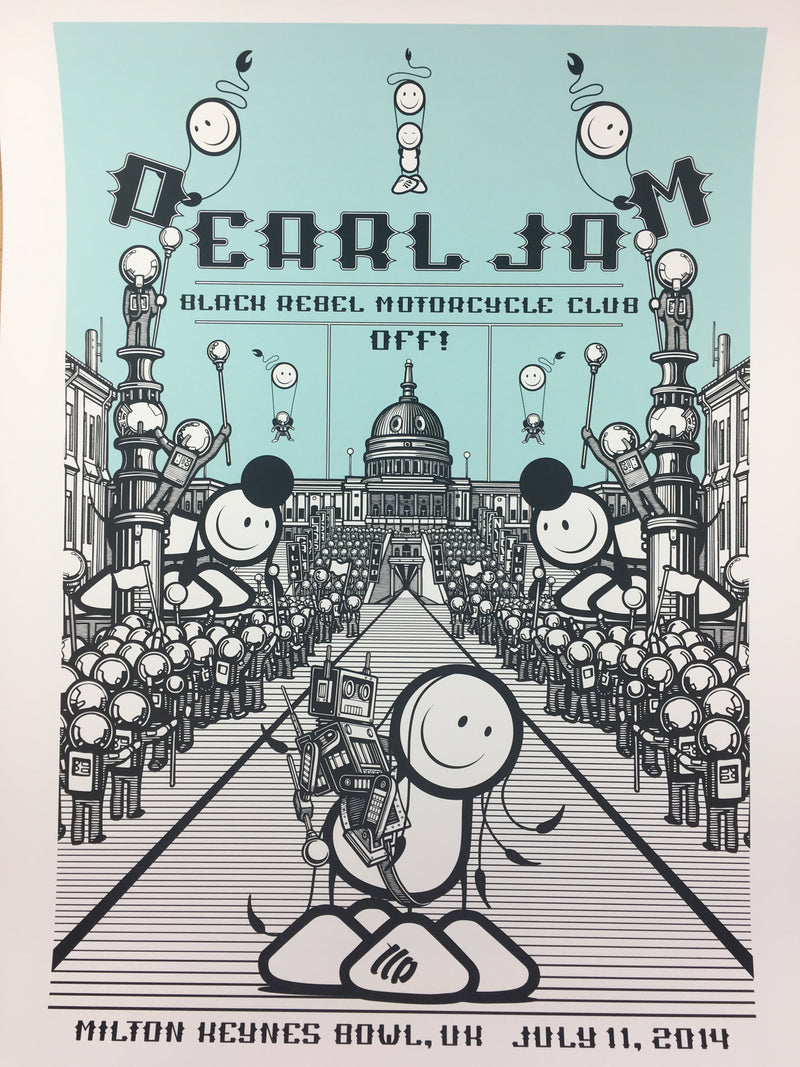 Pearl Jam - 2014 The London Police poster Milton Keynes, UK Milton Keynes Bowl
