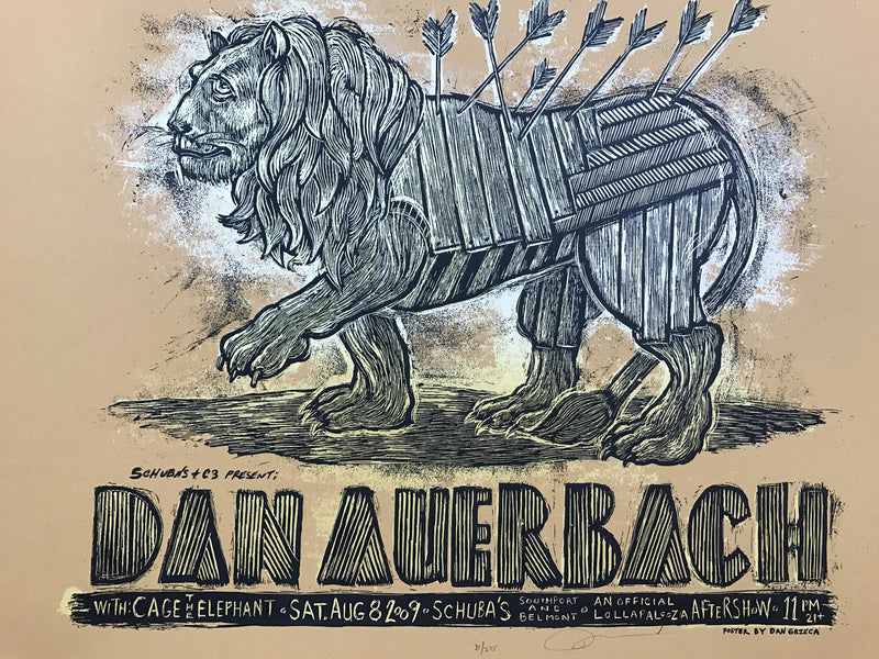 Dan Auerbach - 2009 Dan Grzeca poster Schubas Chicago The Black Keys