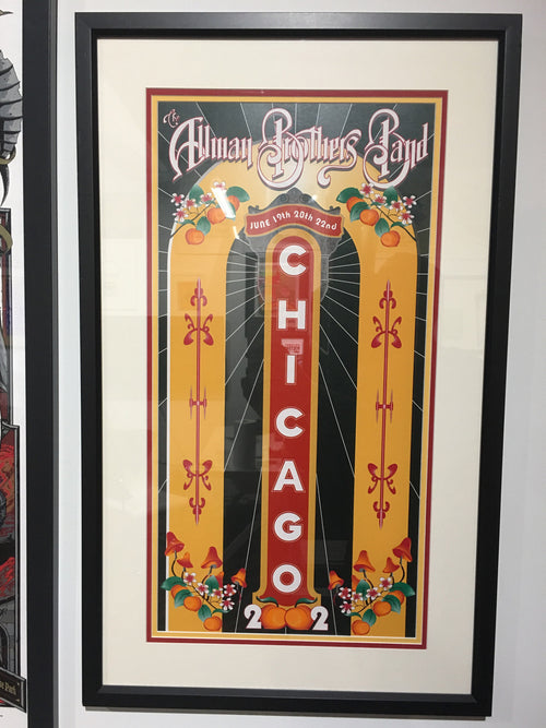 The Allman Brothers Band - 2002 Daniel Bretz poster Chicago FRAMED
