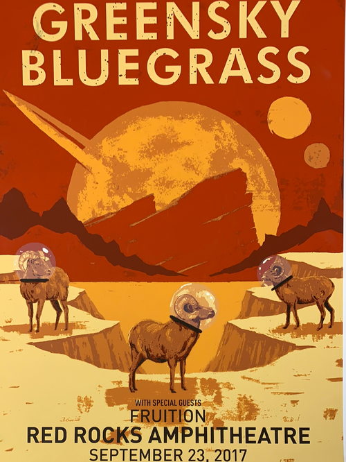 Greensky Bluegrass - 2017 John Vogl poster Morrison, CO Red Rocks