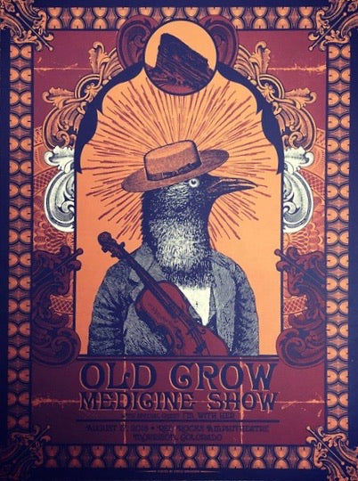 Old Crow Medicine Show - 2018 Status Serigraph poster Red Rocks, Morrison, CO