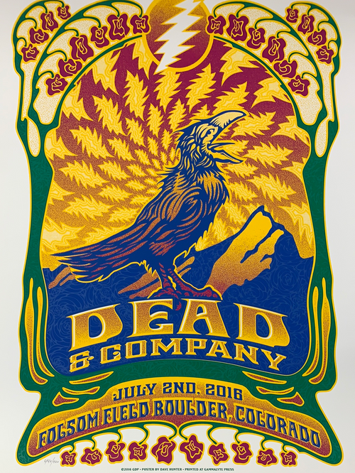 Dead & Company - 2016 Dave Hunter poster Boulder, CO 7/2 Summer Tour