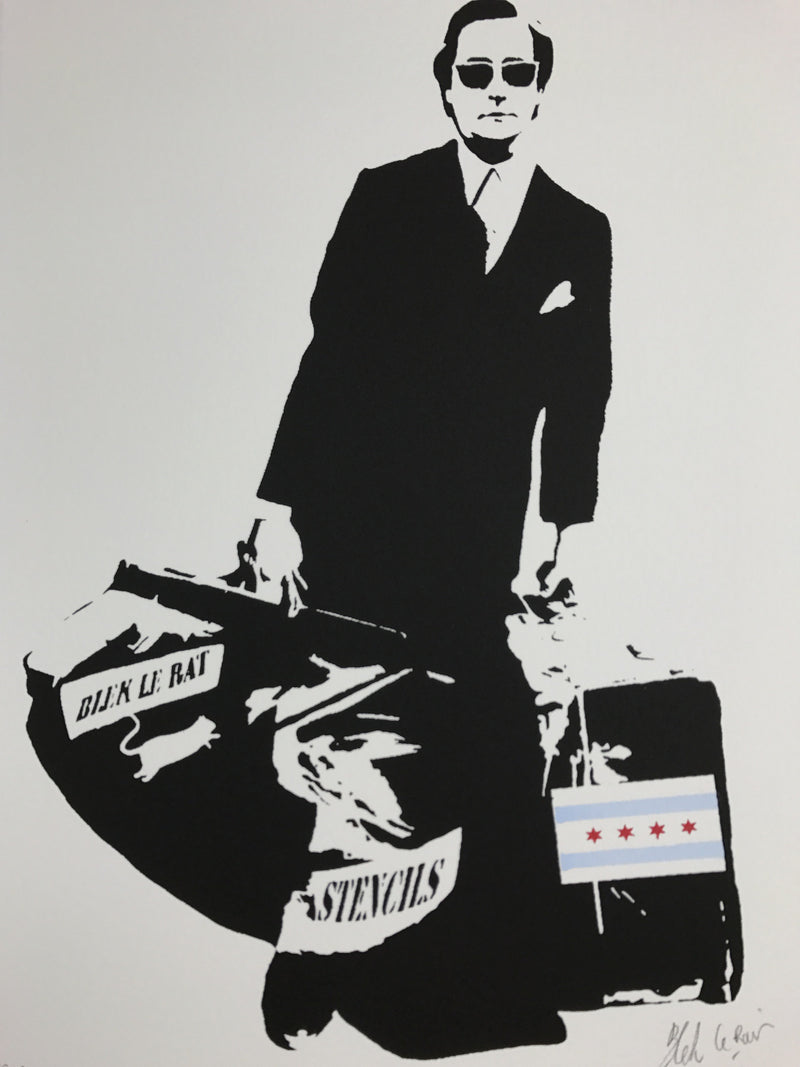 The Man Who Walks Through Walls - 2017 Blek le Rat poster/print Chicago ed