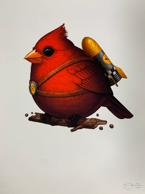 Fat Rocketbird - 2020 Mike Mitchell poster print Cardinal