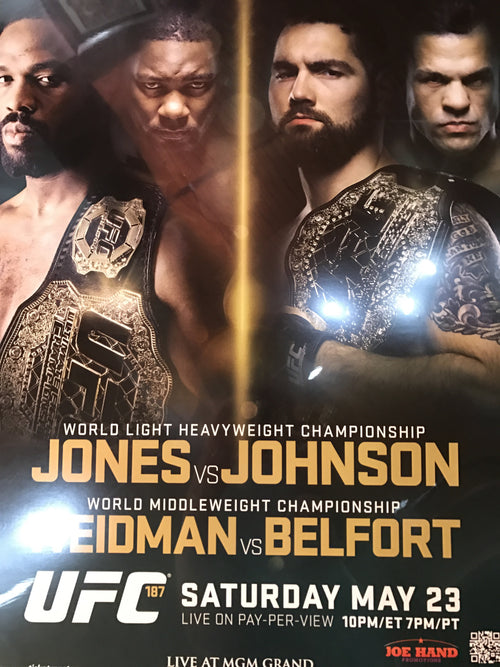 UFC 187 poster Jones vs. Johnson, Weidman vs. Belfort