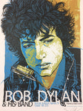 Bob Dylan - 2010 Rhys Cooper Poster Nashville, TN Municipal Auditorium Blue Edit