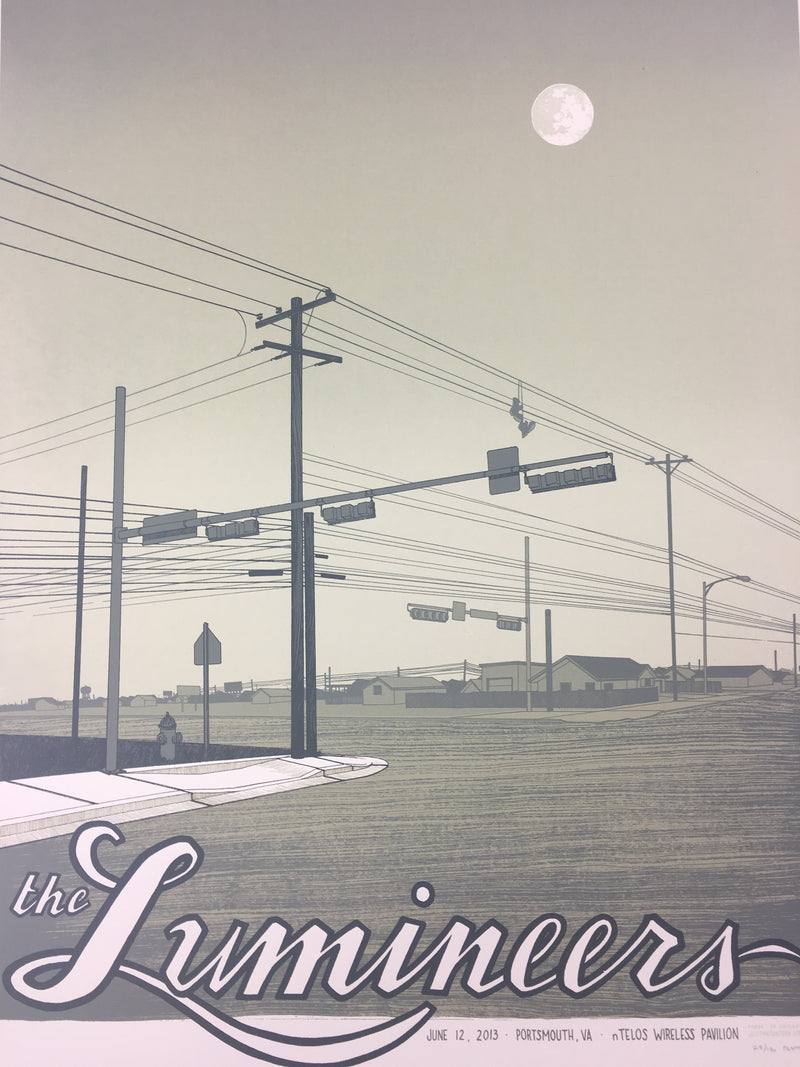 The Lumineers - 2013 Justin Santora Poster Portsmouth, VA Ntelos Pavilion Harbor