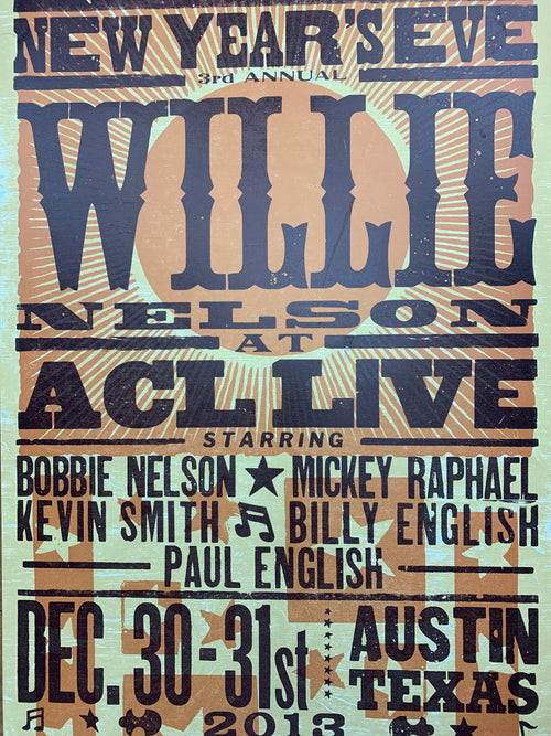 Willie Nelson - 2013 Hatch Show Print poster ACL Live