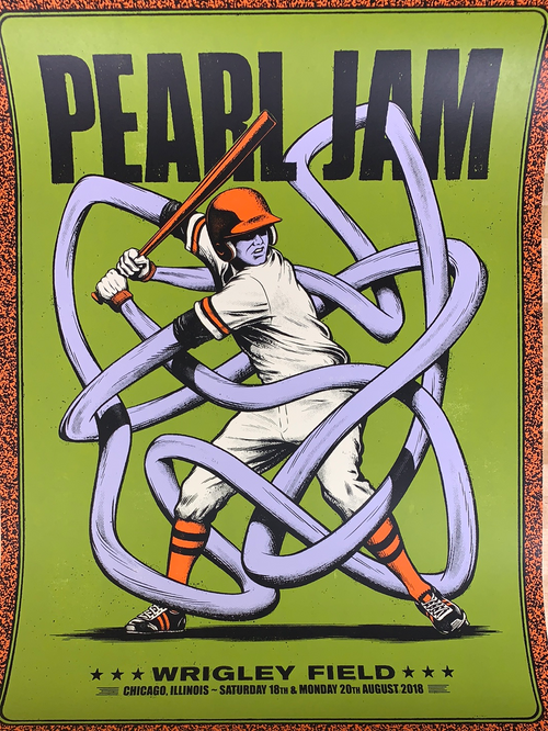 Pearl Jam - 2018 Andrew Fairclough VARIANT Poster Chicago, IL Wrigley Field
