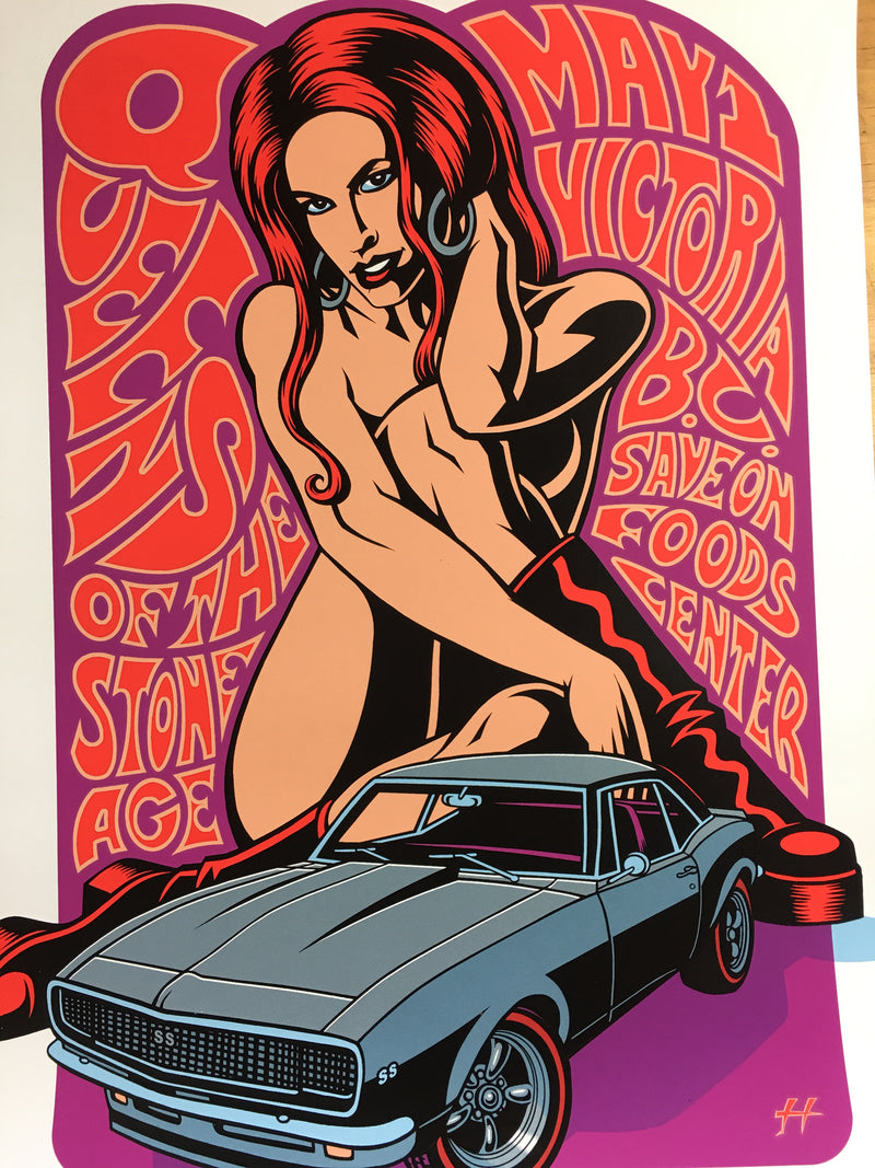 Queens of the Stone Age - 2008 Justin Hampton Poster Victoria, B.C. Save On Food