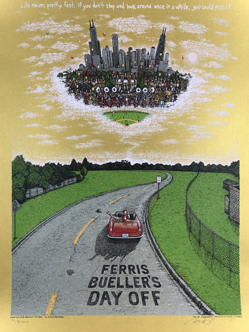 Ferris Bueller's Day Off - 2016 Marq Spusta poster GOLD ed.