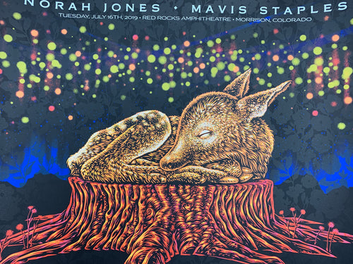Norah Jones - 2019 Todd Slater Poster Mavis Staples Red Rocks Morrison, CO