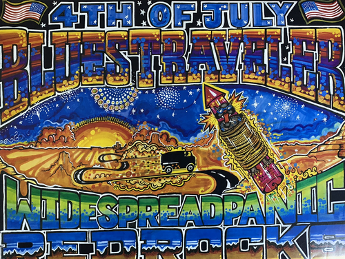 Blues Traveler Widespread Panic - 1994 Jim Vegas poster Red Rocks Morrison, CO