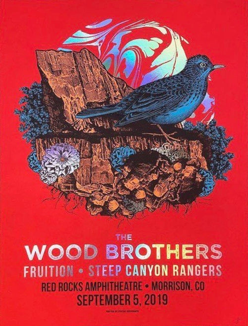 Wood Brothers - 2019 Status Serigraph poster Red Rocks, Morrison, CO FOIL