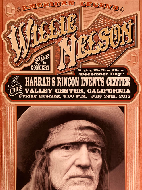 Willie Nelson - 2015 Franks Brothers poster Valley Center, CA Harrah's