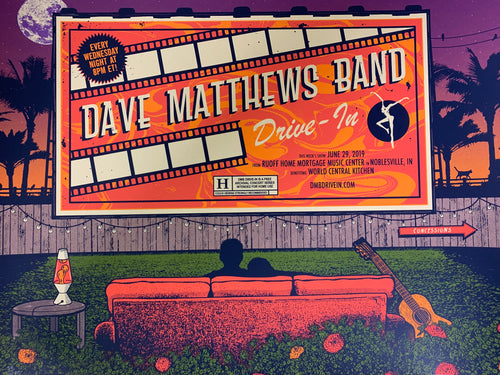Dave Matthews Band - 2020 Status Serigraph poster Noblesville, IN Ruoff Music Center