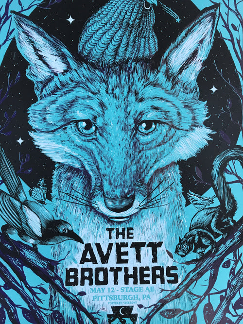 The Avett Brothers - 2016 Zeb Love Poster Pittsburgh Variant