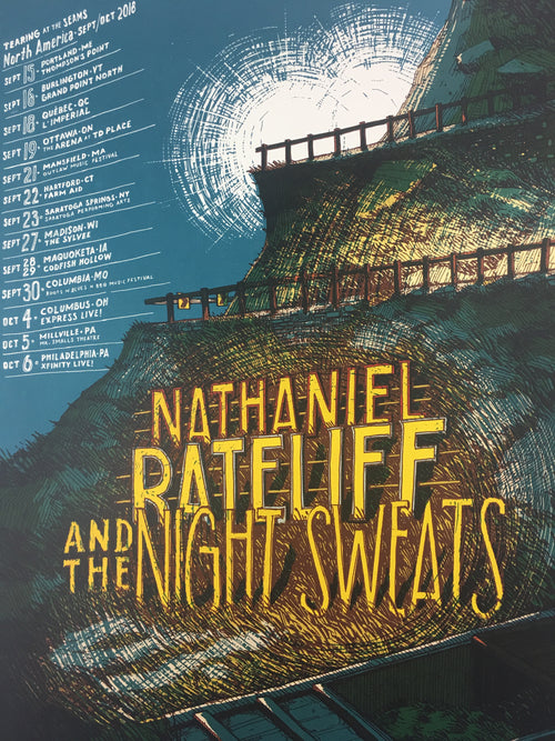 Nathaniel Rateliff & the Night Sweats - 2018 Landland Poster North America Tour Sept/Oct