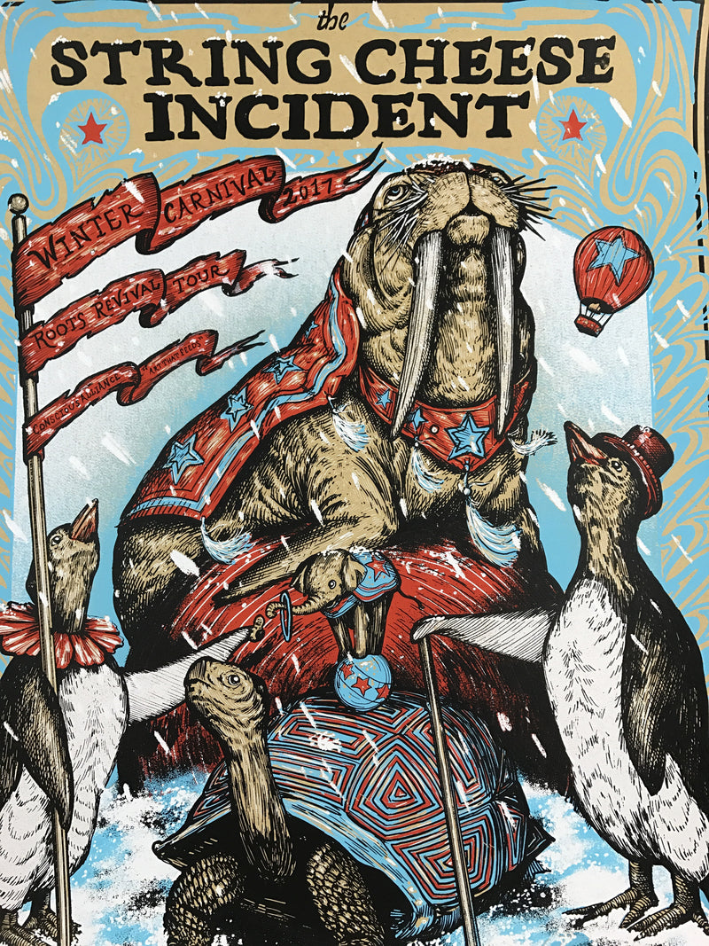 String Cheese Incident - 2017 Zeb Love poster Winter Tour Carnival