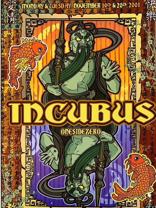 Incubus - 2001 Gregg Gordon poster The Warfield Theatre San Fran 1st