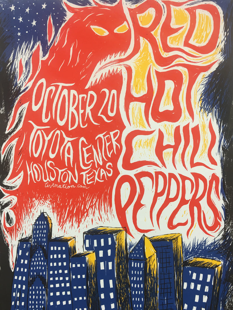 Red Hot Chili Peppers - 2012 Carlos Hernandez Poster Houston, TX Toyota Center