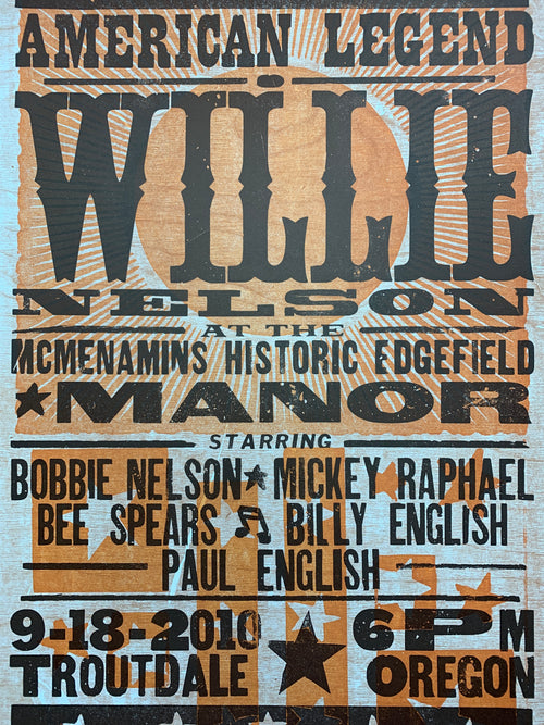 Willie Nelson - 2010 Hatch Show Print poster Troutdale Oregon