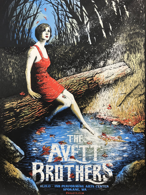 The Avett Brothers - 2013 Zeb Love poster print Spokane, WA 10/19/2013