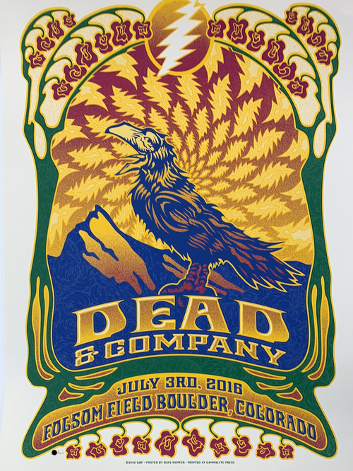 Dead & Company - 2016 Dave Hunter poster Boulder, CO 7/3 Summer Tour
