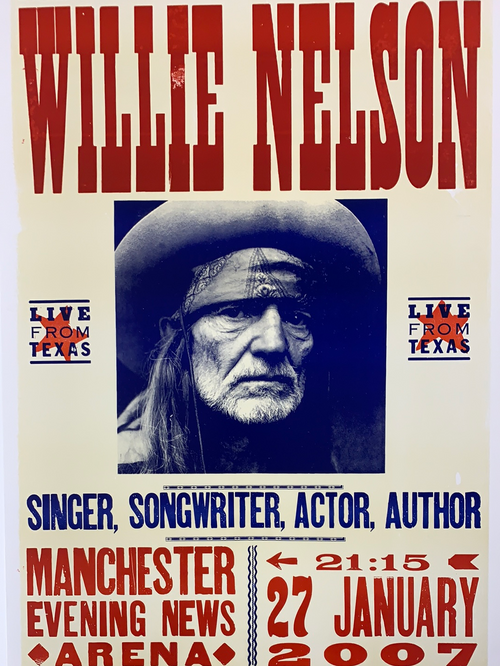 Willie Nelson - 2007 Hatch Show Print poster Manchester, England