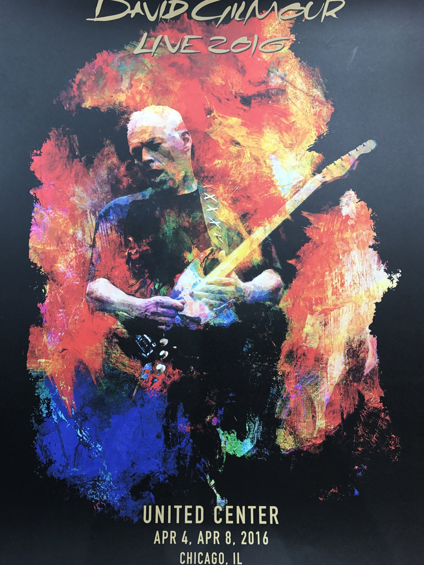 David Gilmour 2016 Poster Chicago Il United Center Pink